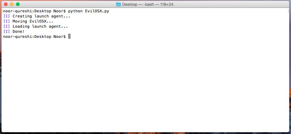 EvilOSX: A Remote Administration Tool (RAT) for macOS / OS X