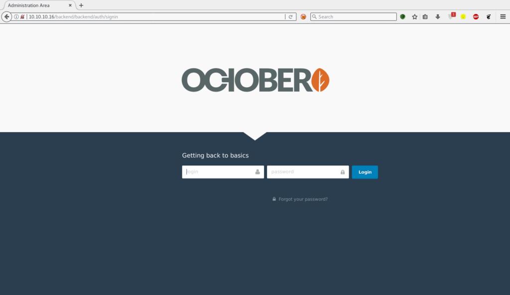 Hack the Box – October Walkthrough
